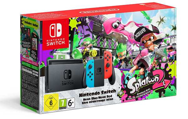 La Nintendo Switch avec Joy-con rouge/bleu + Splatoon 2 à 354,99 € sur Amazon