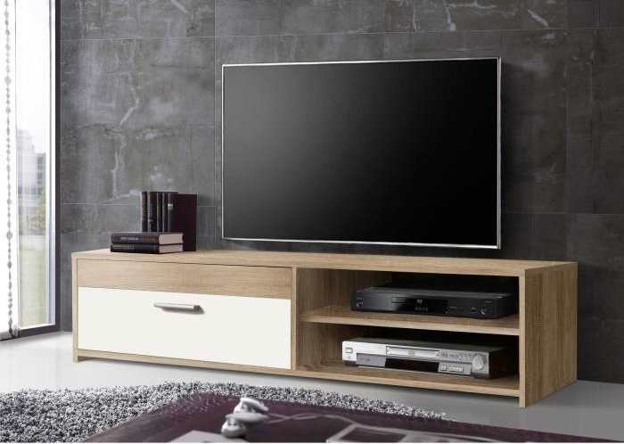 cdiscount meuble tv finlandek katso contemporain ch ne sonoma et blanc brillant 39 99. Black Bedroom Furniture Sets. Home Design Ideas