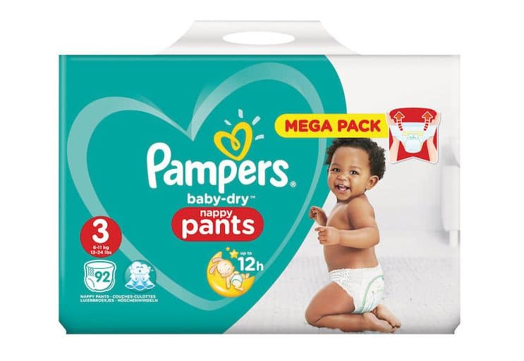 Mega pack couches Pampers Baby-Dry Pants en promo chez Carrefour