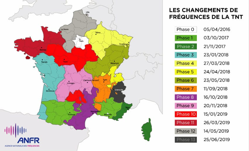 carte changements frequence
