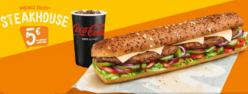 Menu Duo SteakHouse à 5 € dans les restaurants Subway