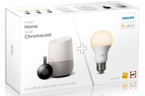 Google Home + Google Chromecast + Kit Philips White 3 ampoules à 199,99 € sur la FNAC