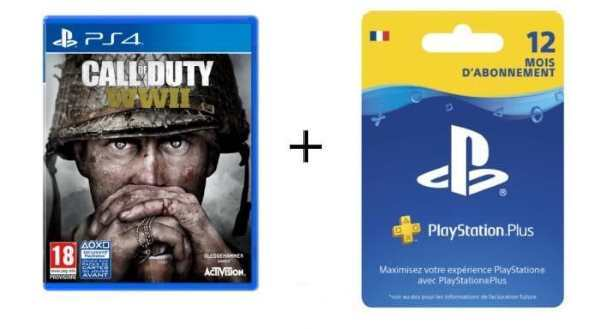 Call of Duty World War II + abonnement PS Plus 12 mois à 74,99 € sur Cdiscount