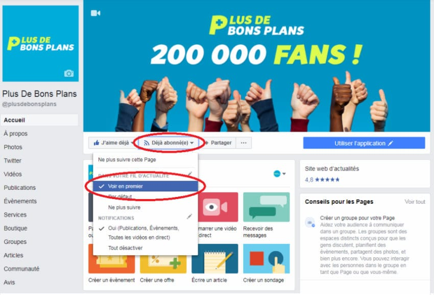 articles facebook plus de bons plans