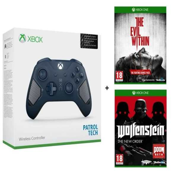 Le pack contenant une manette Xbox Ed Patrol Tech + Wolfenstein The New Order + Evil Within à 49,99 € sur Cdiscount