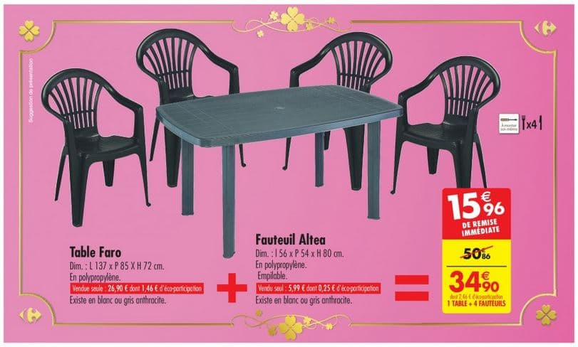 Carrefour : ensemble de jardin 1 table + 4 fauteuils à 34,90 €