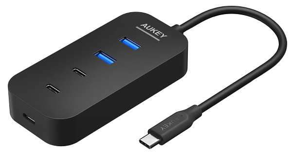 Hub USB C Aukey avec 5 ports compatible Macbook et Google ChromeBook à 9,99 € sur Amazon