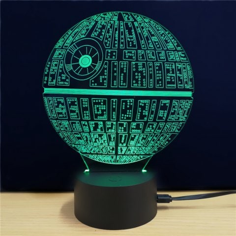 Lampe de table brillante 3D étoile de la mort Star Wars à 4,83 € sur Rosegal