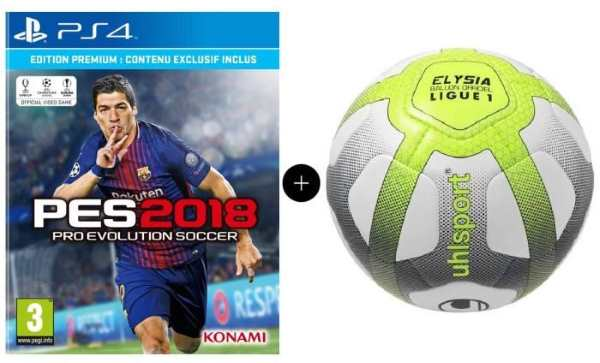Pack PES 2018 Premium D1 PS4 + UHLSPORT Ballon Football Replica Elysia à 34,99 € sur Cdiscount