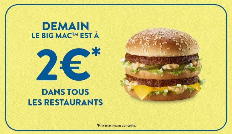 Big Mac à 2 € le mardi 16 avril 2019 à McDonald's