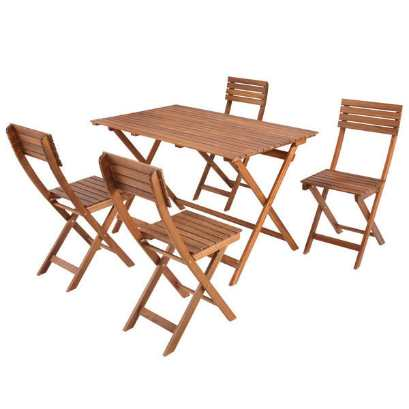 Ensemble balcon Acacia 1 table + 4 chaises à 59,95 € chez Carrefour