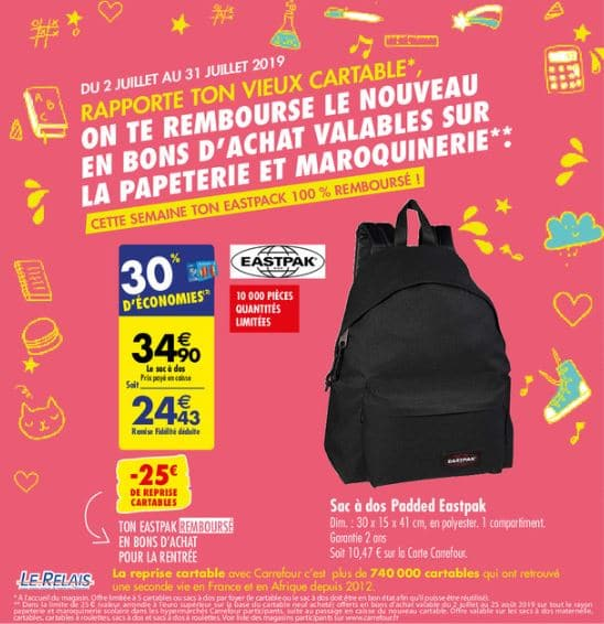 Reprise cartable Carrefour 2019