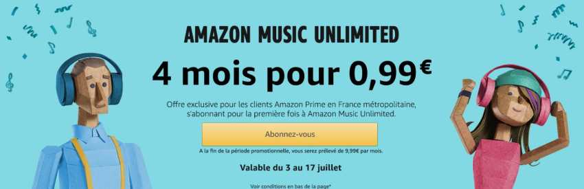 Streaming musical illimité à 0,99 € par mois pendant 4 mois avec Amazon Music Unlimited