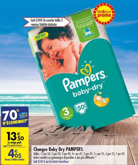 Carrefour pack de couches pampers baby dry 2 05 via - Bon de reduction couches pampers a imprimer ...