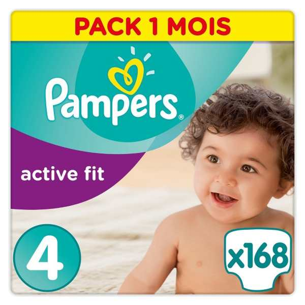 168 couches Pampers Active Fit Taille 4 (8-16 kg) à 26,33 € sur Amazon
