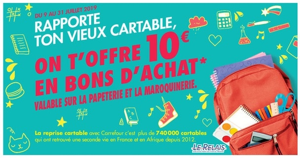 reprise cartable carrefour market 2019