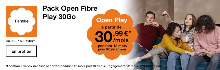 Abonnement fibre fixe + mobile 30 Go Open Play à 30,99 € par mois pendant un an chez Orange
