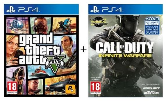 Pack 2 Jeux PS4 : GTA V + Call of Duty Infinite Warfare
