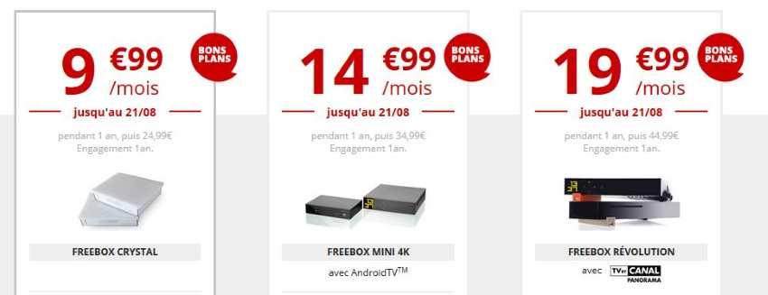 Abonnements Freebox Crystal, Mini 4K et Révolution en promotion