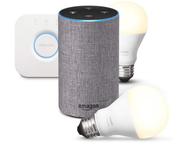 amazon enceinte echo 2e g n ration kit de d marrage philips hue 109 99. Black Bedroom Furniture Sets. Home Design Ideas