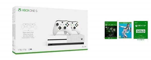 Pack Xbox One S 1 To + 2 manettes + 3 mois de Game Pass et de Live + Fifa 2019 à 249 € sur Amazon