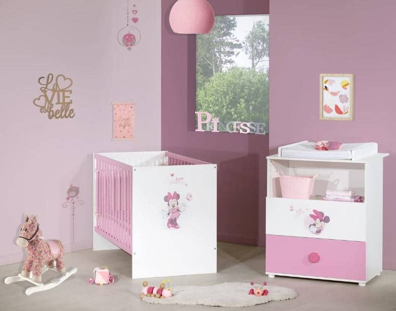 Ensemble lit bébé + commode à langer Minnie Baby Price à 69 € chez Auchan