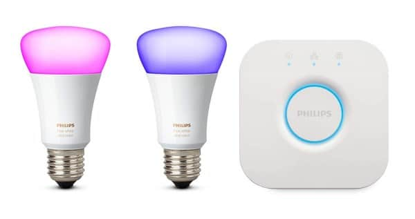 amazon kit de d marrage philips hue 2 ampoules pont de connexion 69 99. Black Bedroom Furniture Sets. Home Design Ideas