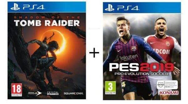 Pack 2 jeux (Shdow of the Tomb Raider + Pes 2019) sur PS4 à 69,99 € sur Cdiscount