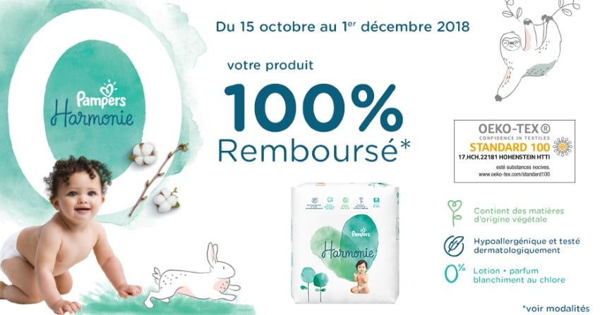 pampers couches harmonie 100 rembours es en 2 bons d achat. Black Bedroom Furniture Sets. Home Design Ideas