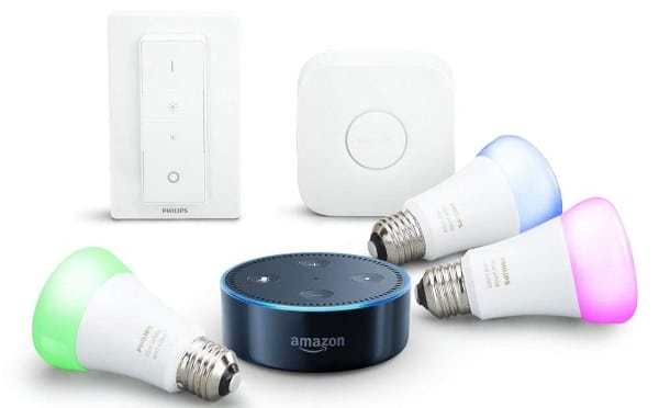 Echo Dot 2e génération + kit de démarrage Philips Hue White & Color E27 à 154,90 € sur Amazon