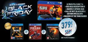 Black Friday Micromania : Pack PS4 Slim 1To + Red Dead Redemption II + Marvel's Spider-man + Call of duty black OPS 4 Edition Spécialiste + Shadow Of the Tom Raider à 379,97 €