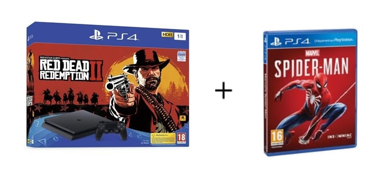 Un pack PS4 + Red Dead Redemption 2 + Marvel's Spider-Man à 306 € à La FNAC