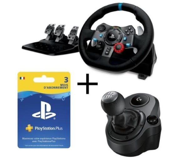 cdiscount pack logitech volant pour pc et ps4 shifter abonnement playstation plus 3 mois. Black Bedroom Furniture Sets. Home Design Ideas