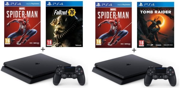 PS4 500 Go + 2 jeux (Marvel's Spider-Man + Shadow of the Tomb Raider ou Fallout 76) à 259,99 € sur Cdiscount