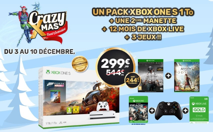 Packs Xbox One S 1 To + 2e manette + 3 jeux + 12 mois de Xbox Live à 299,99 € sur Micromania