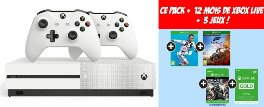 great fit reliable quality timeless design Micromania : pack Xbox One S 1 To + 2 manettes + 12 mois de ...