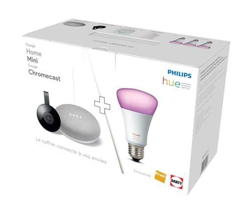 Pack Google Home Mini + Chromecast + 3 ampoules Philips Hue White & Colors à 199,99 € sur la Fnac