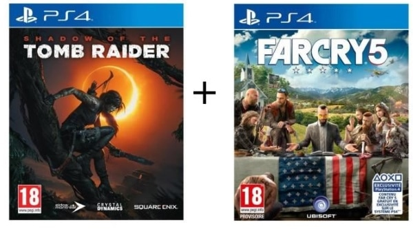 2 jeux de PS4 (Shadow of the Tomb Raider + Far Cry 5) à 49,99 € sur Cdiscount