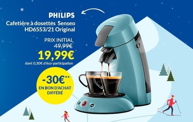 Cafetière à dosettes Philips Senseo Original à 19,99 € via ODR chez But