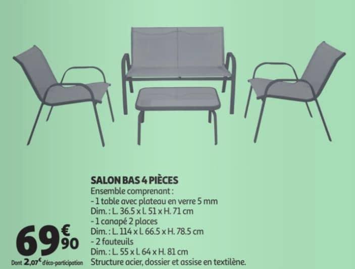 Salon bas 4 pièces à 69.90 € chez Auchan