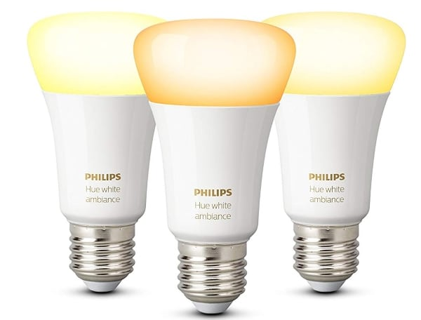 Lot de 3 ampoules Philips Hue blanches E27 à 54,90 € sur Amazon