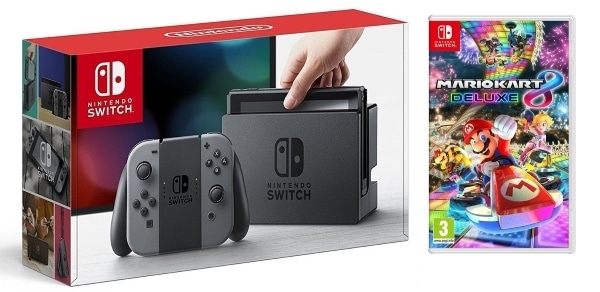 Pack Nintendo Switch avec paire de Joy-Con gris + Mario Kart 8 Deluxe à 314,98 € sur Amazon