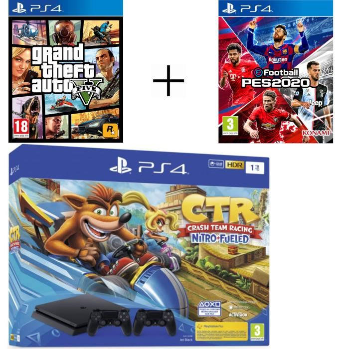 Pack Playstation à 349,75 € sur Cdiscount avec PS4 1To + 2ème Manette + Crash Team Racing Nitro Fueled + eFootball PES 2020 + GTA V