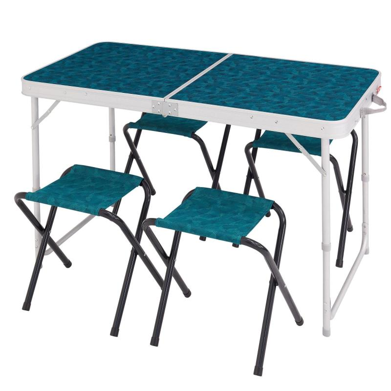 Table pliante + 4 tabourets à 38 € chez Décathlon