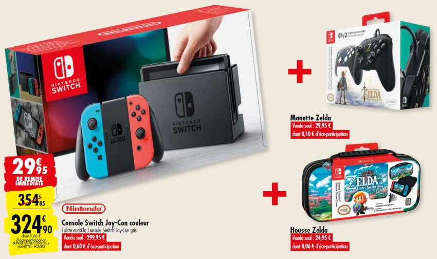 Pack Carrefour comprenant la Console Nintendo Switch Joy-Con couleur, la housse et la manette Zelda à 324,90 €