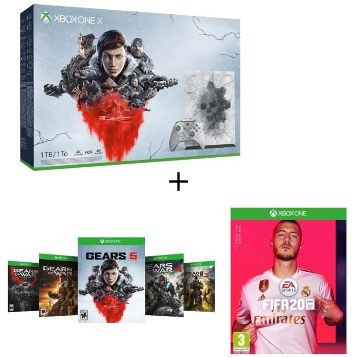 Console Xbox One X 1To Edition Limitée + 5 jeux Gears of War + FIFA 20 à 449,99 € sur Cdiscount