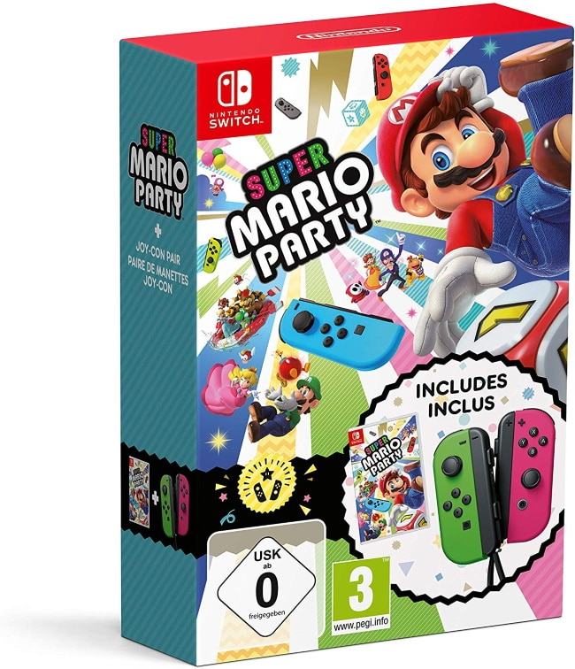 Super Mario Party + Joy-Con vert néon/rose néon à 87,43 € sur Amazon