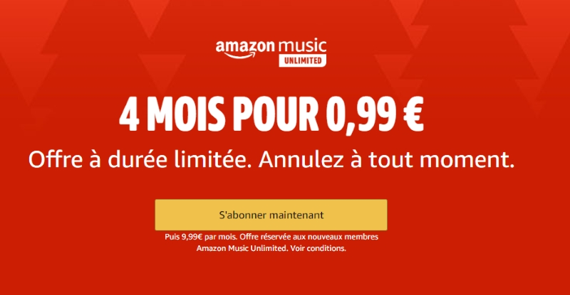 4 mois d'abonnement Amazon Music Unlimited sans engagement à 0,99 €