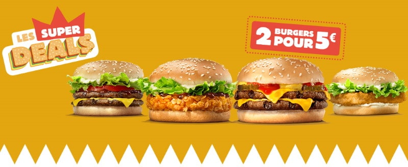 Les Super Deals de Burger King : 2 burgers pour 5€