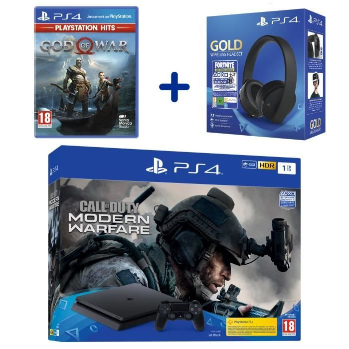 PS4 Slim 1To Noire + COD Modern Warfare + Casque Sans Fil Sony Gold + God Of War PlayStation Hits + Voucher Fortnite à 339,99 € sur Cdiscount